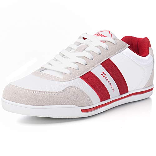 (alpine swiss Haris Mens Suede Trim Retro Striped Sneakers WHT 11 M)