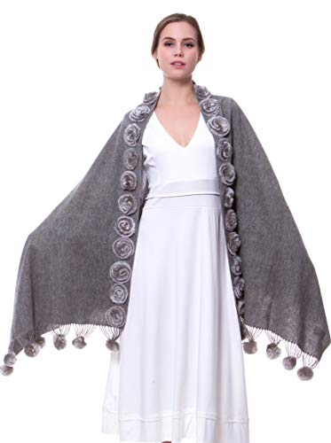 MORCOE Women's Exotic Design Wool Rabbit Fur Roses Soft Scarf Warm Wrap Evening Party Pashmina Shawl Gift (Style 1:24 Roses&15 Balls(Grey))