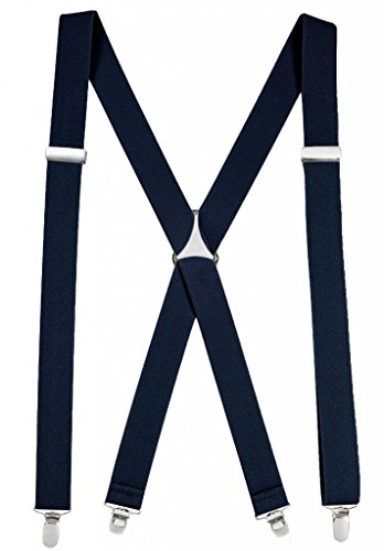 Denim Suspenders (Mens Elastic X-Back Adjustable Straight Clip On Suspenders - Navy (Regular 46