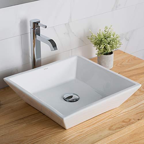 Kraus C-KCV-125-1007CH White Square Ceramic Sink and Ramus Faucet Chrome