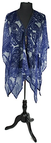 July 4th Paisley Wrap Cover Up Shawl with Stylish Beaded Tie String Closure