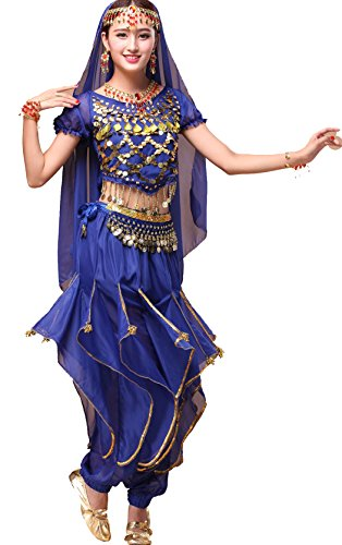 Astage Women`s Belly Dance Costume Set All Accessories Short Sleeve Top With Shells Royal (Ladies Belly Dance Costumes)