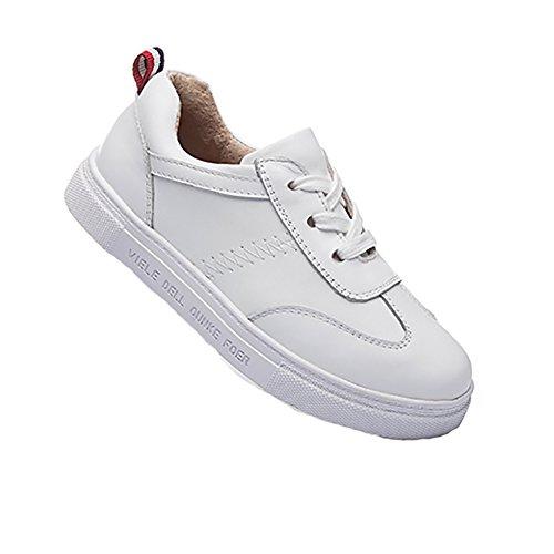 Dr.mama Unisex zapatos del ocio zapatillas de cuero para niños blanco-33