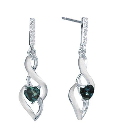 Natural Color Change Alexandrite Heart Shape Diamond Earring in 14K White Gold ()
