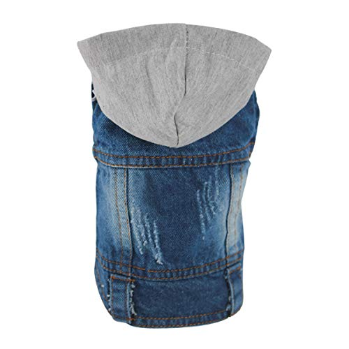OSPet Pet Vests Dog Denim Hoodies Dog Clothes Puppy Jacket Dog Outfit for Small Dogs XS]()
