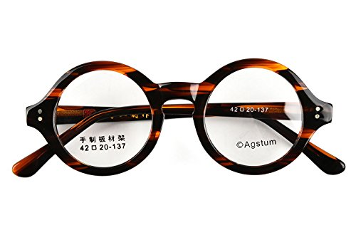 Agstum 42mm Handmade Vintage Retro Round Optical Eyeglass - Optical Frames Vintage