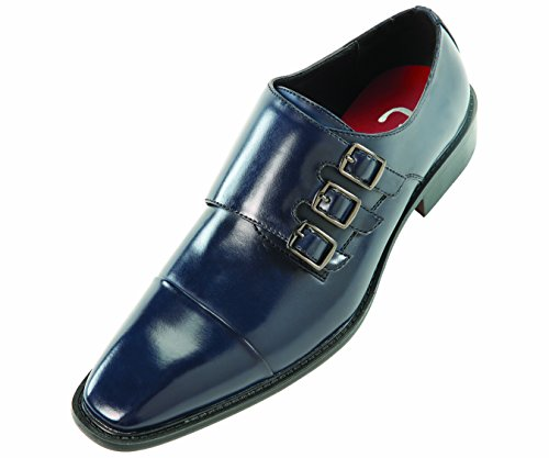 Sio Navy Blue Classic Slip on Smooth Dress Shoe Triple Monk Strap and Cap-Toe: Style Westby Navy-002