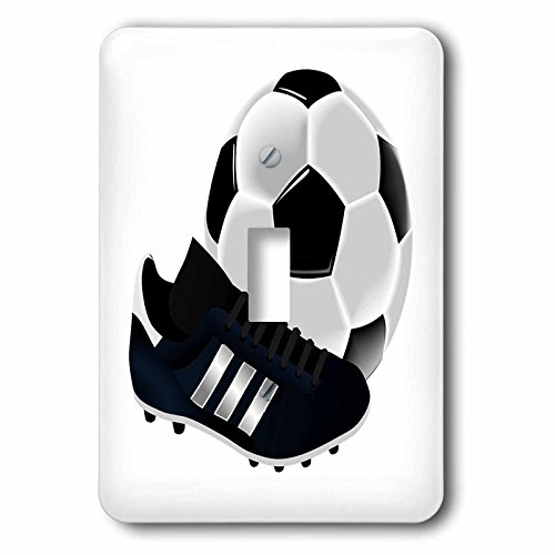 3dRose (lsp_223403_1) Image of Soccer Ball and Shoe Close Up Single Toggle Switch by 3dRose