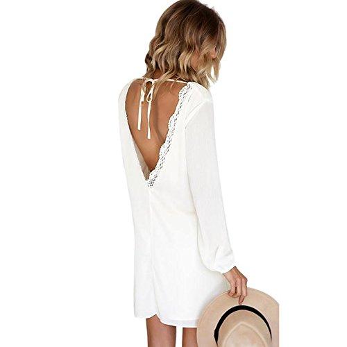 SKY Celebrate for the Summer Day !!! Mujeres Cabestro vestido de gasa color sólido Chiffon Dress Backless Beach Casual Lace Dresses Blanco