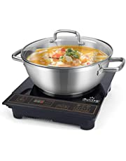 Duxtop 1800W Portable Induction Cooktop, Countertop Burner Included 5.7 Quarts Professional Stainless Steel Cooking Pot with Lid, Heavy Impact-bonded Bottom