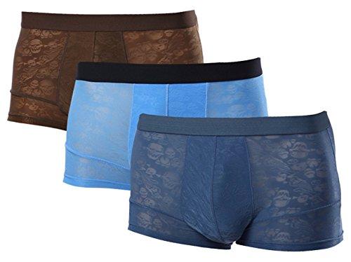 35ec8f1b3820 Men's Ice Silk Breathable Boxer Briefs Underwear, Ultra-Thin,Soft and  Skin-Friendly Transparent Underwear Sky Blue & DAR Blue (3 Pack) L