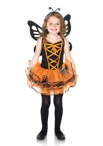 Leg Avenue Costumes 3Pc.Beautiful Butterfly Dress with Sequin Trimmed Skirt Antennae Wings, Black/Orange, (Sexy Monarch Fairy Costumes)