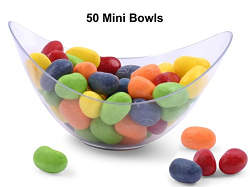 [Zappy 50 Mini Bowls 2 oz Clear Plastic Party Bowls Oval Small Bowl Elegant & Disposable Small Dessert Bowls Candy Dishes Trifle Bowls Appetizer Bowls Mousse Cups Dessert Cups For Weddings Parties] (Small Oval Bowl)