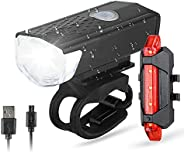 Bike Light Kit, USB Rechargeable Bike Headlight and Tailight, LED Safety Waterproof Cycling Front and Rear Lig