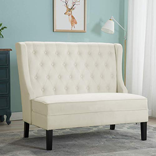 Button Tufted Settee Bench Banquette Loveseat Sofa Dining Bench Fabric Settee, Living Room Dining Room Entryway Bench (White Settee Loveseat)