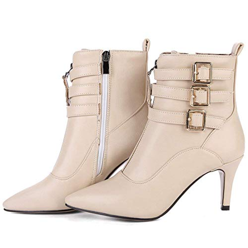 Wimter Heel Booties Vitalo Zip Beige Ankle High Womens Autumn Boots Pointed Toe gwBqZxfwz