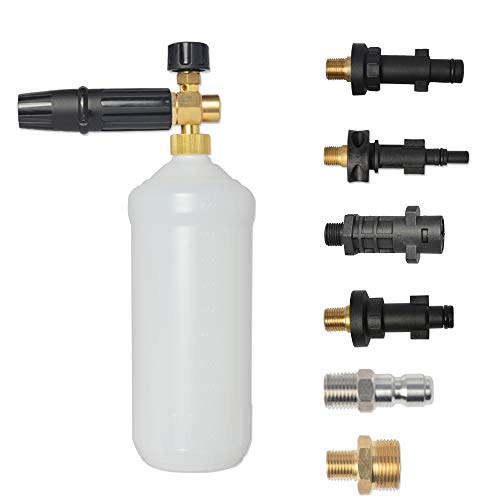 "BEARFORCE Professional Adjustable Snow Foam Lance Foam Nozzle Foam Cannon with Quick Release Connector 1/4"" & M22 for Most of High Pressure Washers"