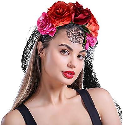 1 disfraz de flor de rosa, velo de Halloween, cinta mexicana ...