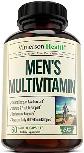 Men's Daily Multimineral/Multivitamin Supplement - Vitamins A C E D B1 B2 B3 B5 B6 B12. Magnesium, Biotin, Spirulina, Zinc. Antioxidant For Heart & Immune Health. 60 Daily Gluten Free Multivitamins.