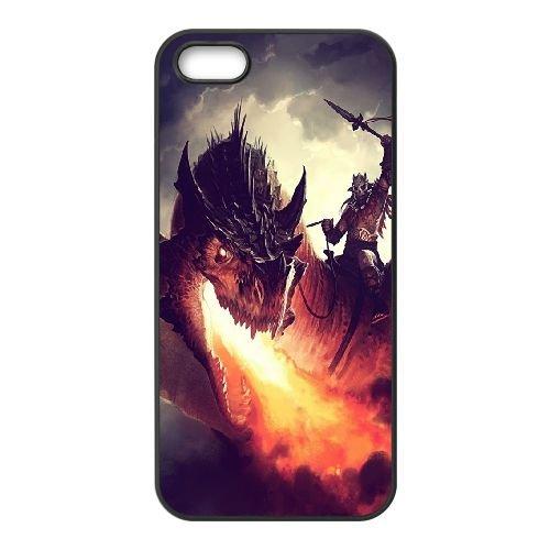 Fire Dragon coque iPhone 5 5S cellulaire cas coque de téléphone cas téléphone cellulaire noir couvercle EOKXLLNCD23693