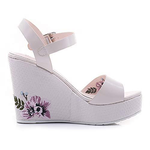 LBTSQ Damenschuhe Sommer Heel 10Cm Retro Retro Retro Stickereien Mode Steigung Ferse Sandalen 58fe6f