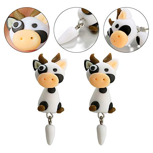 Topdo Womens Girls Stud Earrings Animal Cows Cute Software Daily Ear Cuff Simple Jewelry Gift 1Sets