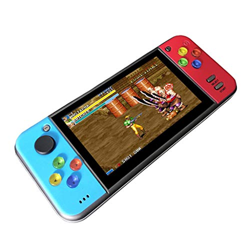 X7 Portable Retro Game Console Built in 2000 Games, 5.0 Inch Large Screen PSP Mini Arcade FC Red and Blue Console Portable Machine for Kids&Adults, Support FC, GB, GBA, GBC, MD, NES, SFC Arcade