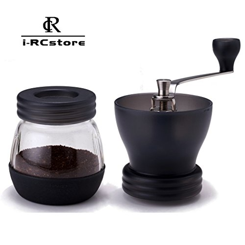 RC 120g Capacity Manual Ceramic Burr Coffee Grinder, Hand-crank Coffee Mill---Black