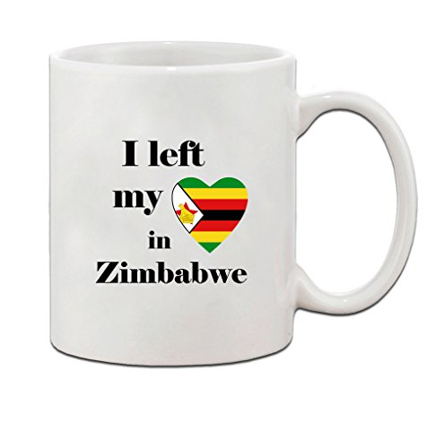 I Left My Heart In Zimbabwe Flag Country Ceramic Coffee Tea Mug Cup - Holiday Christmas Hanukkah Gift for Men & Women