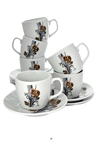 Set of 12 Roses Porcelain Demitasse Espresso Cups with Saucers