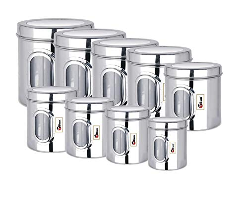 EBun-Stainless-Steel-Set-of-9-Canisters-Containers-Ubha-Dabba-with-lid-for-Kitchen-Storage-Silver-85012001400195025003200400050006000-GMS