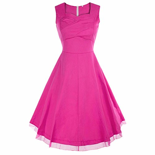 Samtree Women's 1950s Hepburn Style Vintage Garden Cocktail Party Swing Dress(XXXL(16-18),Rose Pink) (Womens Cocktail Dress Pink)
