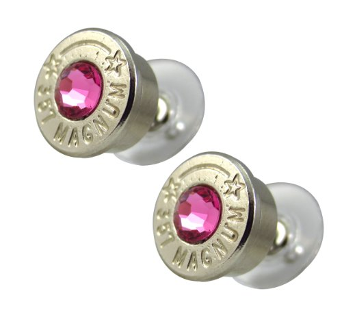 LoriDavidson Designer Nickel Plated 357 Bullet Shell Crystal Stud Earrings
