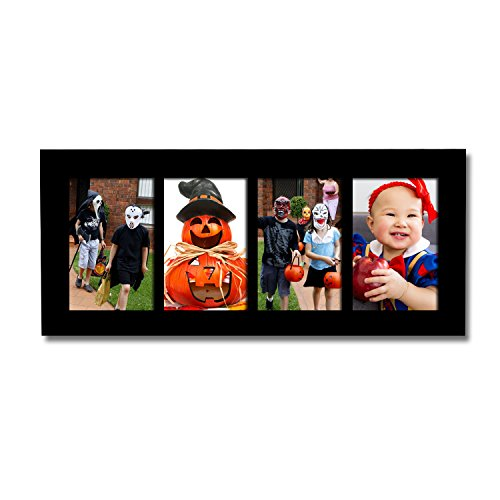 Adeco PF0424 Decorative Black Wood Divided Picture Photo Frame, Wall Hanging, 4 Openings, 4x6 inches