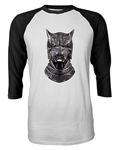 TMB Apparel New Novelty Shirt of Thrones Shirt Distressed Hounds Helm Raglan Quarter Sleeve Men's T-Shirt (Black, XX-Large) -
