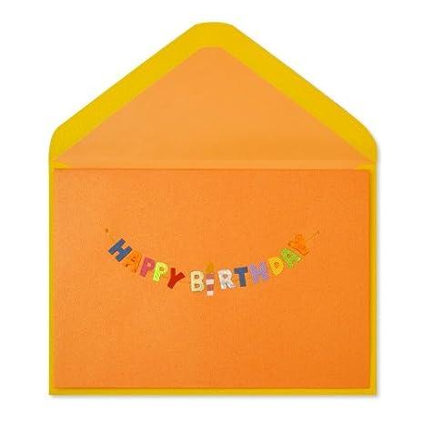 Amazon Birthday Card Handmade Happy Birthday Banner On Orange