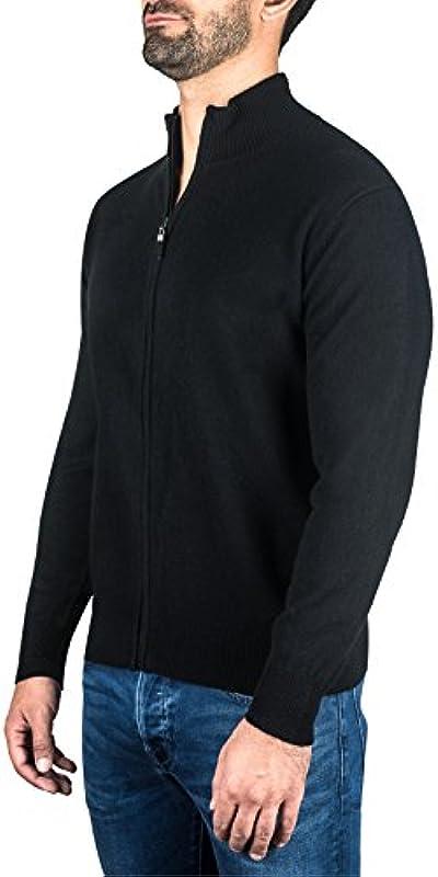 CASH-MERE.CH 100% kaszmir męski sweter kardigan z zamkiem błyskawicznym   kurtka z dzianiny z zamkiem błyskawicznym 2-nitkowa: Odzież