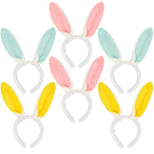 Easter Bunny Ear Headband Boppers 6 Pack Plush Rabbit Hairbands Costume Apparel Decorations for Adults Men Women Kids Girls Boys Basket Stuffer Fillers Party Supplies Accessories by Gift -
