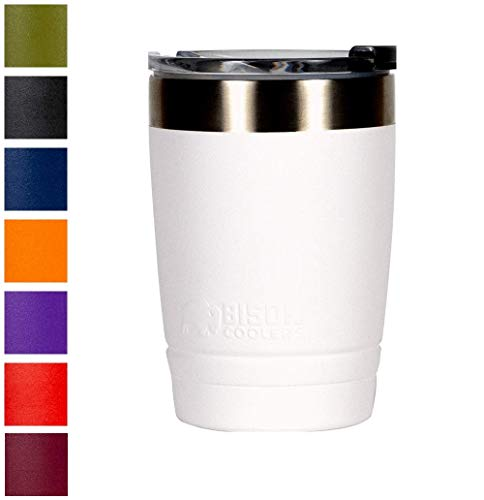 BISON COOLERS 12 oz Tumbler Double-Wall Vacuum Insulated 18/8 Stainless Steel Drink Container | Powder Coated Cup with Leak Proof Flip Top Lid | Sweat Proof Design for Hot or Cold Beverages