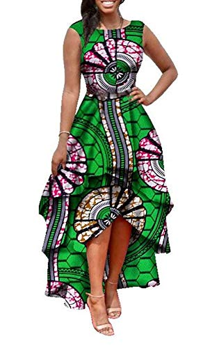 Womens African Dress Formal Prom Dashiki Print Sleeveless Peplum Fit and Flare Midi High Low Dress