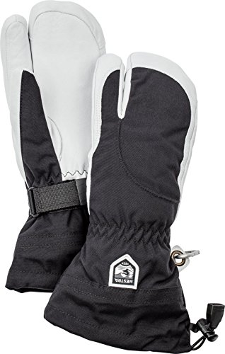 Hestra Womens Extra Warm Ski Gloves: Heli Leather Winter Cold Weather 3-Finger Mitten, Black/Off White, 7