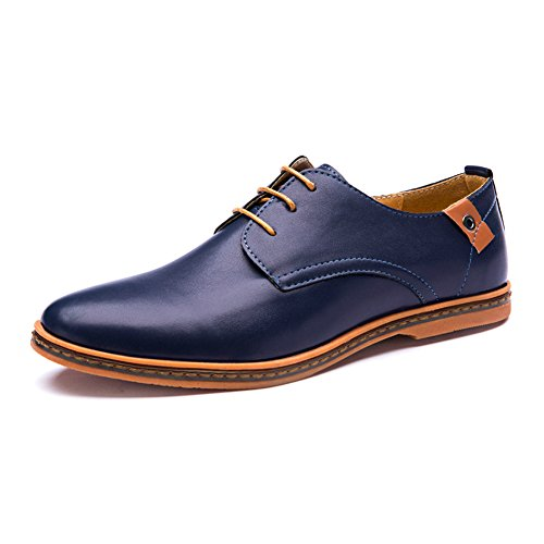 Seakee Men's Leisure Lace-up Flat Oxford Dress Shoes Blue US 11.5