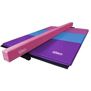 Nimble Sports Pink Suede Balance Beam and Pastel Folding Gymnastics Mat