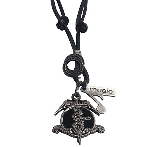 (EBSEM Music Legends Necklace, Genuine Leather Cord Surfer Jewelry for Men & Women (Metallica))