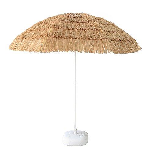 i Umbrella Hawaiian Hula Style Hut Beach Patio Umbrella Palapa Raffia Umbrella Natural Color 8 ribs (Palapa Patio Umbrella)