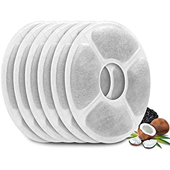 Carbon Replacement Filters for Pet Fountain - 6 Packs Concentrated Carbon Technology Filters for MOSPRO Cat and Dog Automatic Flower Water Dispenser