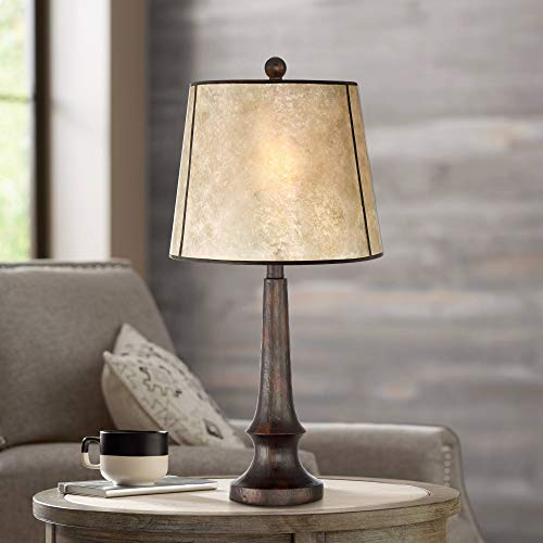 Rustic Lamp Table Plus Lamps (Naomi Rustic Table Lamp Aged Bronze Mica Drum Shade for Living Room Family Bedroom Bedside Nightstand Office)