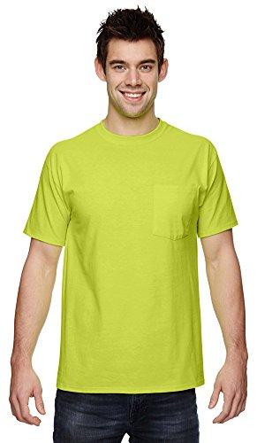 Fruit of the Loom 100% Heavy Cotton HD Pocket T-Shirt, 2XL, SAFETY (Fruit Of The Loom Chest Pocket T-shirt)
