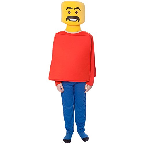 Lego Guy Costumes (Morphsuits Mr Block Head Kids Costume (Age 8 to 10), Medium)