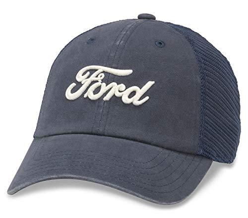 American Needle Raglan Bones Mesh Dad Hat, Ford, Navy - Ford Cap